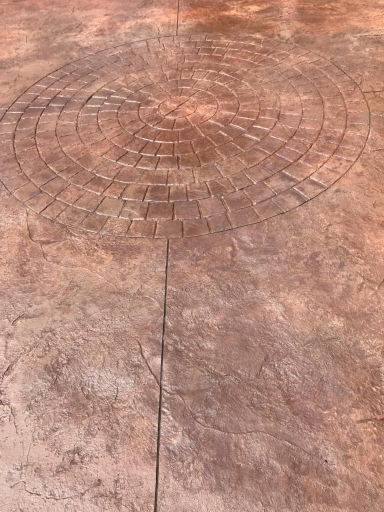Stamped Concrete Circular Brick Pattern Patio