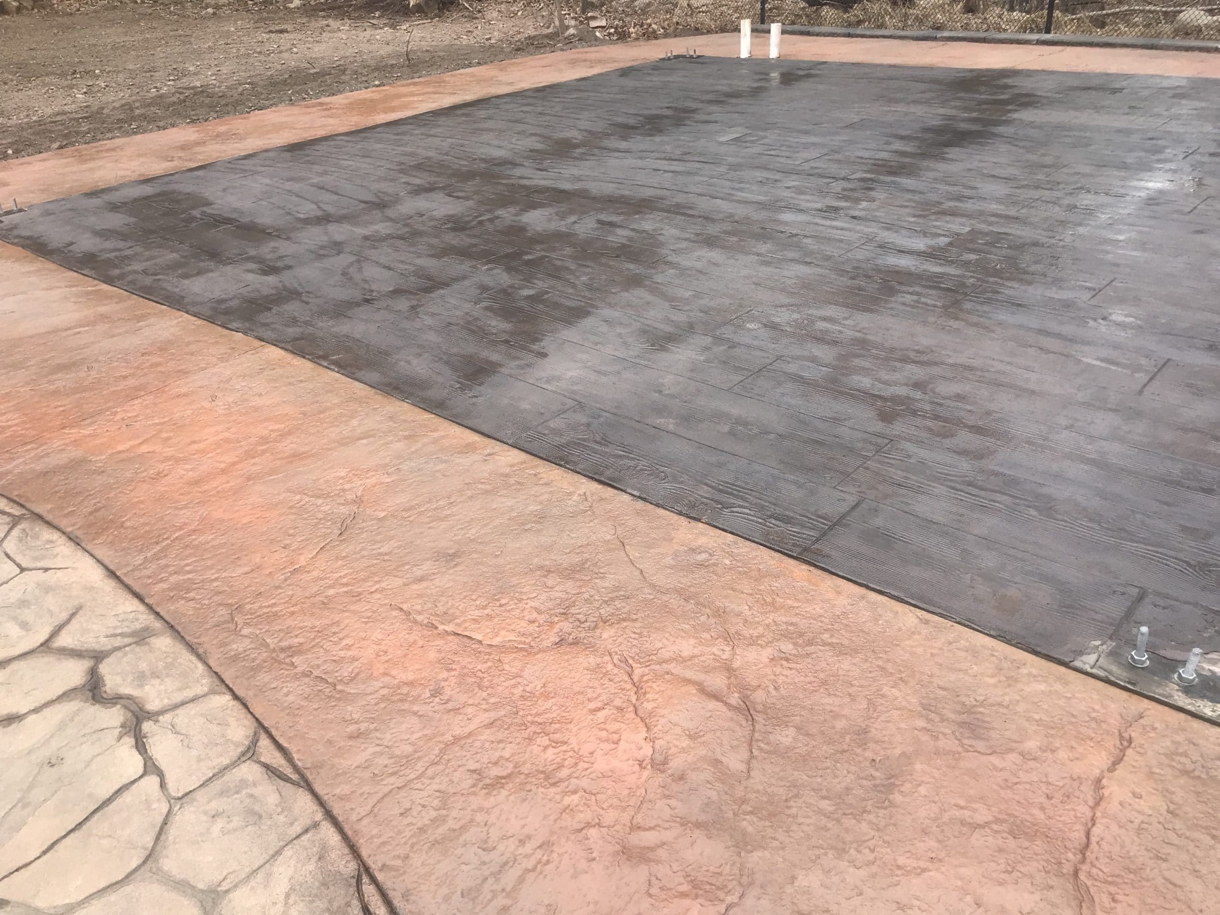 Stamped Concrete Patio and Pool House Foundation